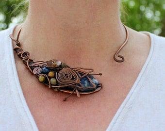 Wire Wrap Necklace Open Necklace Copper Necklace Sodalite Copper Wire Wrap Jewelry Torque Necklace Collar Necklace Wire Wrapped Jewelry