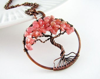 Tree Of Life Necklace Wire Wrapped Pendant Rhodonite And Copper Wire Wrapped Jewelry