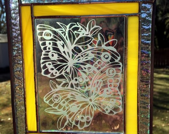 Contemporary Stained Glass Panel - Sandblasted Butterfly Yellow (PLG034)