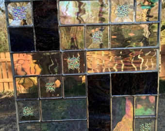 Contemporary Stained Glass Panel - Dichroic Ice Bevels (PLG005)