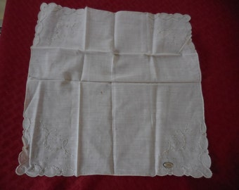 Vintage 1950s to 1970s Embroidered Handkerchief Scalloped Edges Hand Made in Madeira Portugal Something Old Wedding/Bridal
