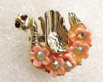 Pink Flower Swan: Vintage Kitschy Brooch
