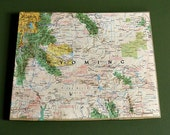 WYOMING Vintage National Geographic State Wall Art Mini Map