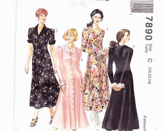 McCalls 7890 Petite-Able Fit and Flared Dress Princess Seam Sleeve Variations Sizes 10,12,14 Uncut Pattern FF