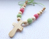 SALE Nursing/Teething Necklace with a Cross pendant - juniper wood - light green & pink