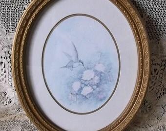 Shabby Romantic Cottage Oval framed Hummingbird, vintage 1980s