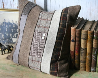 Brown Tweed Patchwork Pillow Cover - Recycled Wool, Herringbone, 14 Inch - FREE SHIPPING