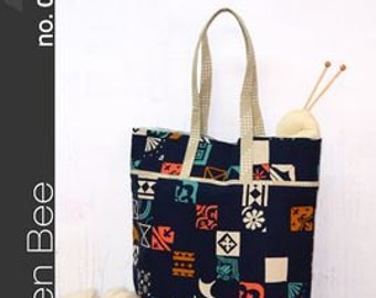 The Market Tote Green Bee Designs & Patterns