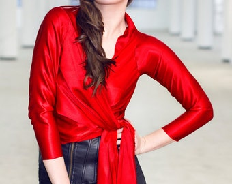 Custom Made Maria Severyna Red Charmeuse Silk Wrap Blouse Top - Mother of the Bride