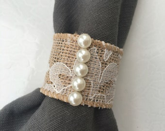 Pearl Accented, Burlap and Lace Napkin Ring, set of 8 napkin rings