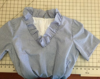 Sally, lined, seersucker, zipper