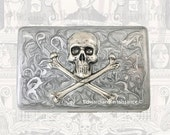 Silver Skull and Cross Bones Metal Cigarette Case Inlaid in Hand Painted SIlver Enamel w Silver Splash Metal Wallet w Personalized Options