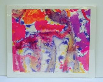Vintage 1990's Abstract Watercolor and Transparent Ink Painting by listed artist Jesse Soifer