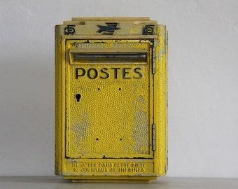 French Vintage Mail Box, Post Box, 1967 Cast Metal Mail Box Loft deco