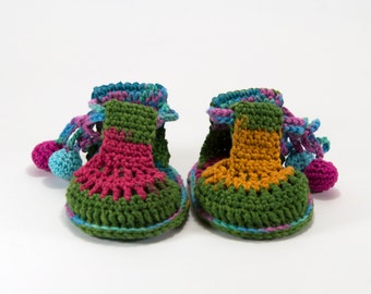 Crochet Baby Sandals - Green,Yellow,Pink,Blue, Cotton Baby Sandals, Handmade Baby Summer Shoes,  3 ~ 9 months