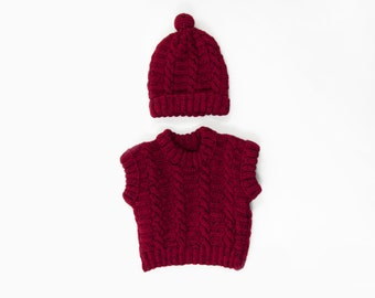 Knitted Baby Vest and Hat Set, Hand Knitted Baby Sleeveless Sweater and Hat - Red ,Tweed, 1 - 2 years