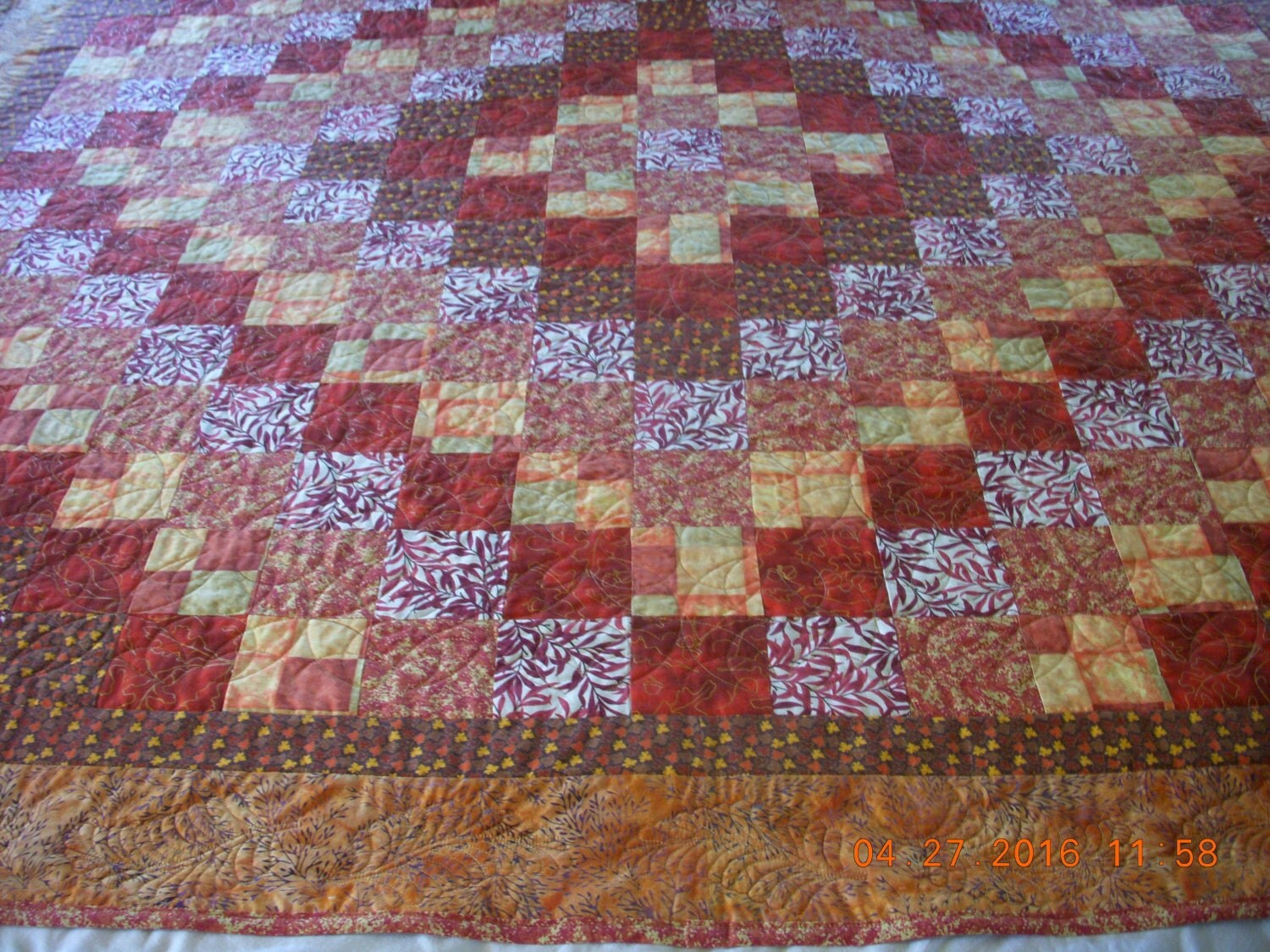 Handmade Quilt Fall Colors Throw Size Trip Around The World