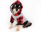 Dog Clothes Red Buffalo Plaid Trendy fleece dog hoodie