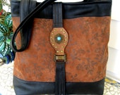 Recycled Leather Tote Handbag - Black & Warm Brown Upcycled Leather