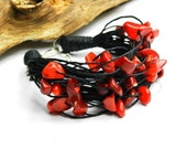 Nature linen bracelet with red coral. Red black bracelet. Layered black string. Coral jewelry set.
