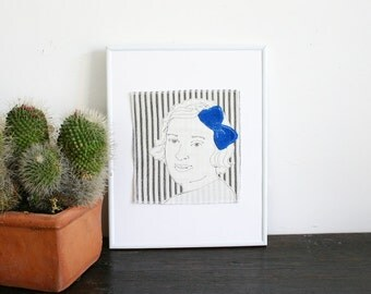 Original Art Illustration Stitched Modern Portrait- Woman with Hairbow
