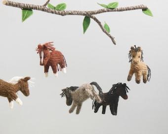 Horse Mobile, Horse Baby Mobile, Farm Nursery, Boy Baby Nursery, knit animal mobile, Gender Neutral Nursery, Horse hanging crib mobile, Pony