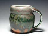 "Mug Cup Pottery Coffee Tea Jade Forest Green Red Gold Black Sea Green Orange 18 oz. ""Metamorphose"""