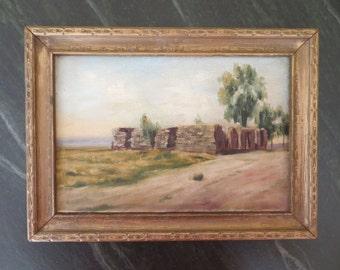 Vintage Oil Painting Plein Air SOUTHWEST landscape Impressionist / 1930 to 1950 / 8 x 11 inches