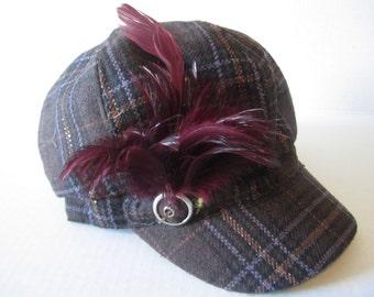 Plaid Newsboy's Cap, Brown & Burgundy,Feathers  With tiny vintage Cameo, Stylish Cap, Lady's Cap, Newsboys Cap, Caps, Warm Cap, Brown Cap