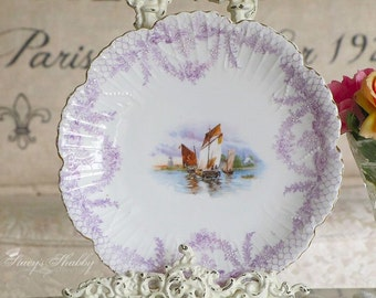 Pretty Antique LAVENDER Decorative WALL PLATE, Boats, Embossing, Swags, Shabby Chic