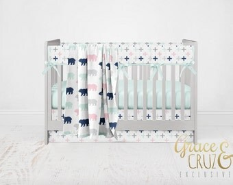 Grace and Cruz Fabrics Design Your Own - Woodland Adventure Bears and Plus Cross in Lime  + Navy + Grey + Pink + Aqua Twins  Baby Bedding