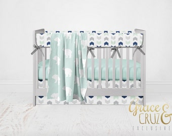 Grace and Cruz Exclusive Fabrics Design Your Own - Woodland Adventure Bears and Chasing Chevron in  + Navy + Grey  + Aqua Mist Baby