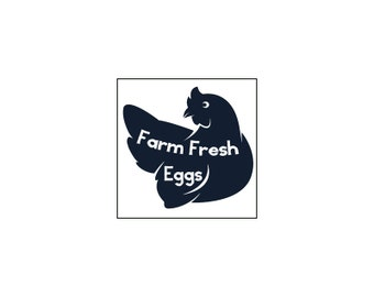 Farm Fresh Eggs in Chicken Glossy Egg Carton Labels Set of 30