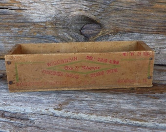 Primitive Wooden Cheese Box Wisconsin Cheddar Pasteurized Cheese Container Rustic Home Decor 1950s Farmhouse Chic