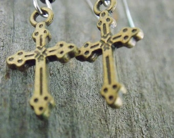 Surgical Stainless Steel Earrings, Bronze Cross Charms with Hypoallergenic Steel Ear Wires