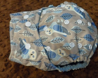 SassyCloth one size pocket diaper with Errol the Owl PUL print. Ready to ship.
