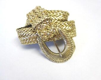 Wide Gold Braided Belt