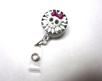 Girly Sugar Skull Badge Reel Retractable ID Holder Black White Day of the Dead Name Tag Keychain