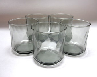 Set of 5 Smokey Black Drinking Glasses Tumblers Libbey