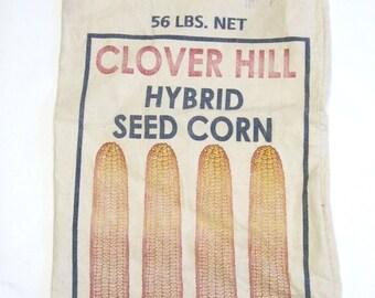 Vintage Farm Feed Seed Corn Sack Rustic Decor Agricultural Collectible Bag Clover Hill Audubon Iowa
