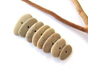 Centre Drilled Beach Stones Pebbles Toggle Rock Beads Mediterranean Natural Stone Spacers Diy Jewelry Making Pairs EARTHY MIX 17-27 mm