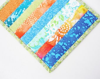Colorful Mug Rug, Blue Orange Green, Mini Quilt, Candle Mat, Bright Summer Colors