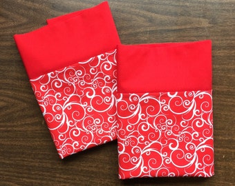 Red and White Swirly Pillow Case  Set Standard available red cuff