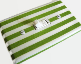 GREEN WHITE STRIPES Light Switch Cover Plate Switchplate