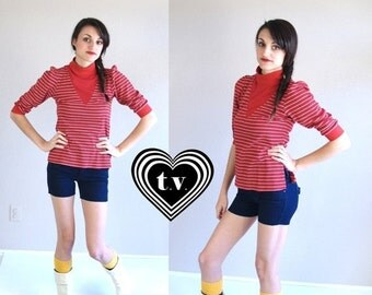 vtg 80s red, white striped YOKE NECKLINE puff sleeve Dolly TOP xs/s retro indie hipster mod