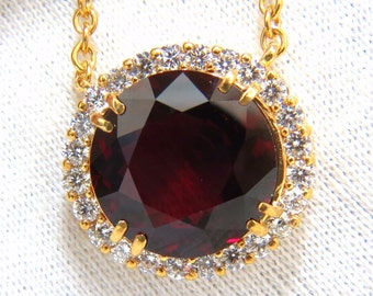 GIA Certified 16.10ct Natural Rhodolite & 1.40ct diamonds necklace