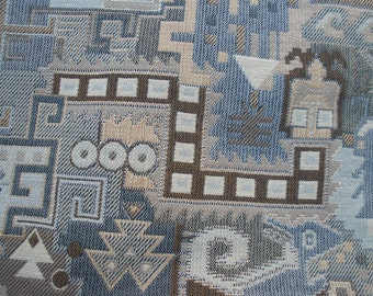 """Desert Life Tapestry fabric remnants 27""""L x 23""""W Taupe Blue brown upholstery fabric home decor market bag pillows purse 2 pieces"""
