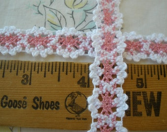 "Medium Pink & Bright White Cotton Cluny Lace trim 13/16"" wide crochet look retro yardage sewing crafts embellish edging insert"