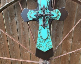 Large Turquoise and Brown Layered Wood Wall Cross