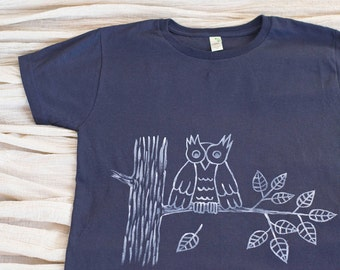 Womens Organic Cotton Hand Painted Owl T-Shirt, Navy Blue, Eco Friendly Apparel